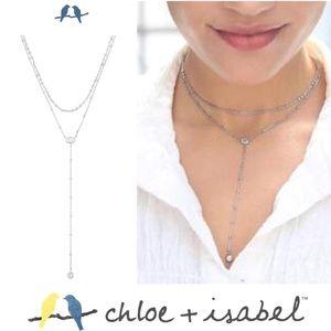 🆕 Crystal Drop 2-Row Y-Necklace SLVR c+i N594CLSR